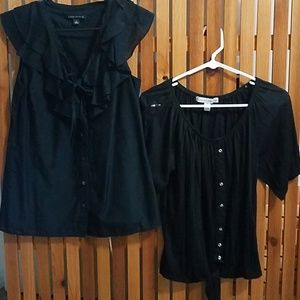 2 tops - 1 sleeveless Small - one that ties is Med